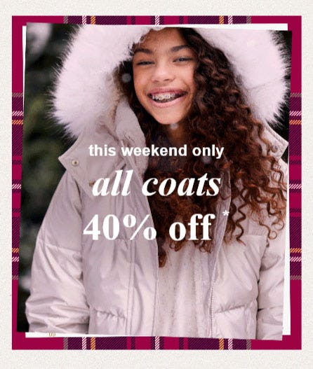 40% Off All Coats from Abercrombie Kids