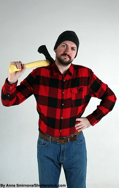 Man dressed as a lumberjack with a prop axe.