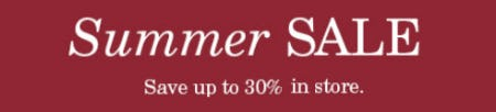 Summer SALE: Save Up to 30%