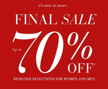 Up to 70% Off Designer Sale from Saks Fifth Avenue