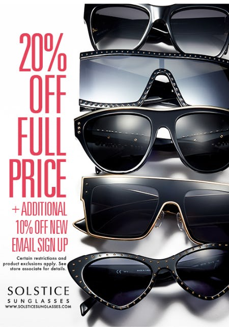 cf330880815 Sale at Solstice Sunglass Boutique. 20% OFF FULL PRICE MERCHANDISE