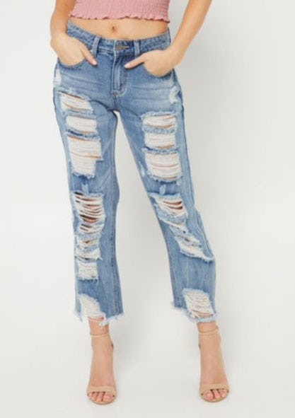 Distressed Mid Rise Straight Leg Cropped Jeans