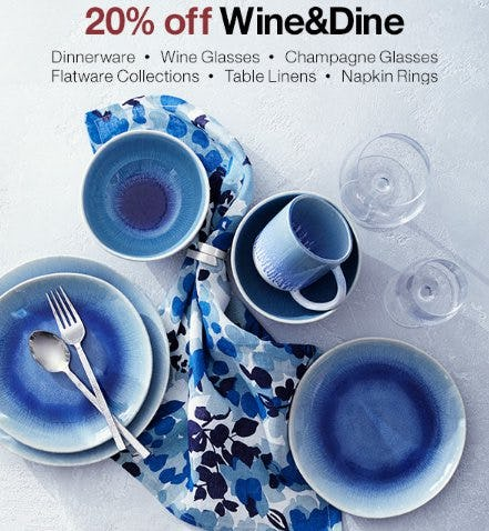 20% Off Wine & Dine from Crate & Barrel