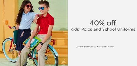 40% Off Kids' Polos and School Uniforms from Sears