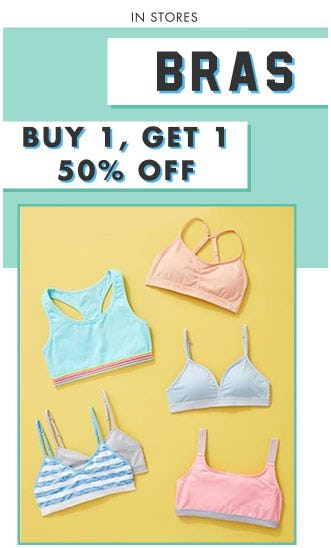 BOGO 50% Off Bras from Justice