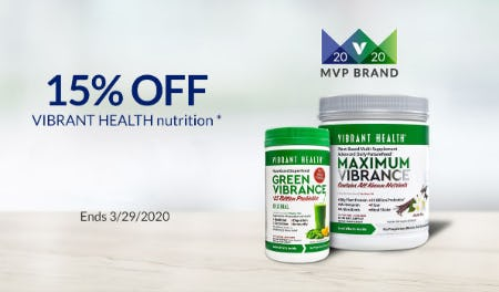 15% Off Vibrant Health Nutrition from The Vitamin Shoppe