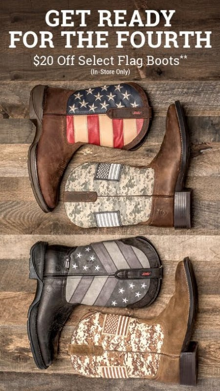 $20 Off Select Flag Boots from Boot Barn Western And Work Wear