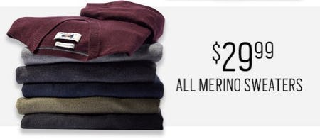 $29.99 All Merino Sweaters from Men's Wearhouse and Tux