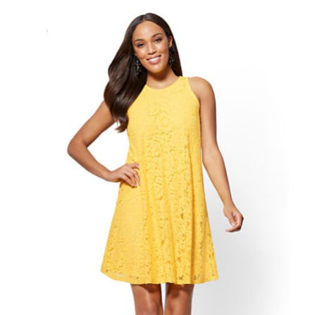 Lace-Overlay Shift Dress from New York & Company