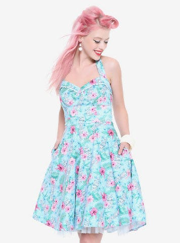 Blue Floral Tiki Swing Dress from Hot Topic