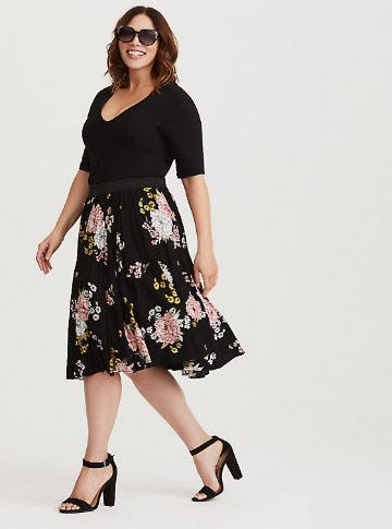 Black Floral Challis Full Skirt from Torrid