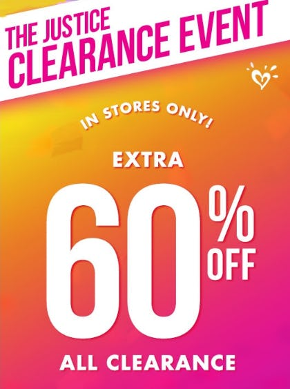 Extra 60% Off All Clearance from Justice