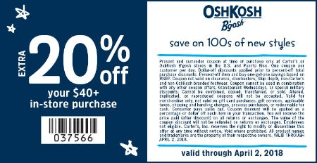 20% Off Your In-Store Purchase of $40+ from Oshkosh B'gosh
