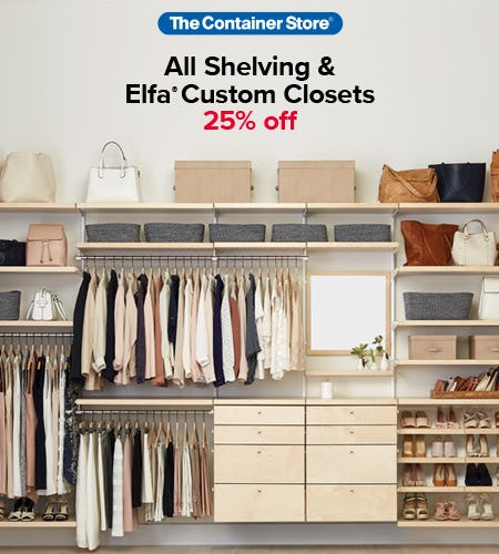 The Container Store Shelving and Elfa Sale