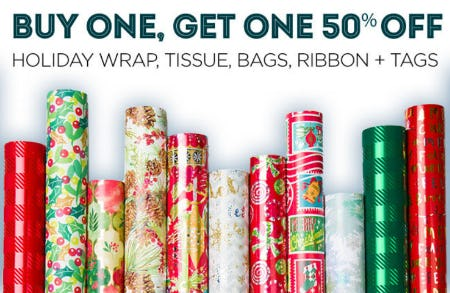 BOGO 50% Off Holiday Wrap, Tissue & More