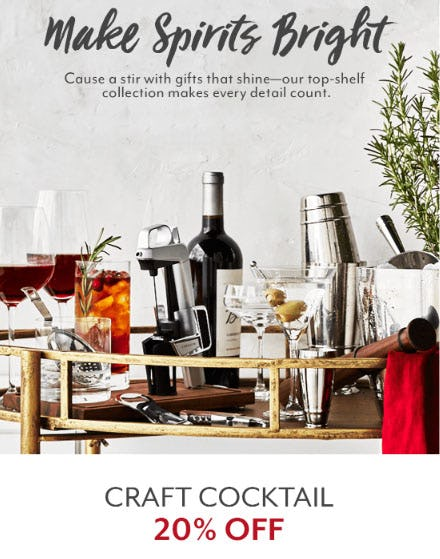 20% Off Craft Cocktail from Sur La Table