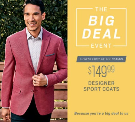 $149.99 Designer Sport Coats from Men's Wearhouse