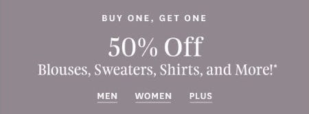 BOGO 50% Off Blouses, Sweaters, Shirts, and More