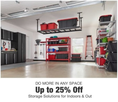 Up to 25% Off Storage Solutions for Indoors and Out from Home Depot