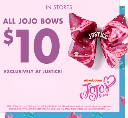$10 Jojo Bows from Justice