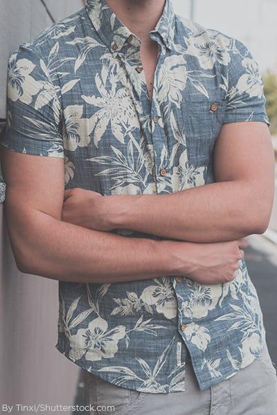 Man wearing light blue tropical shirt