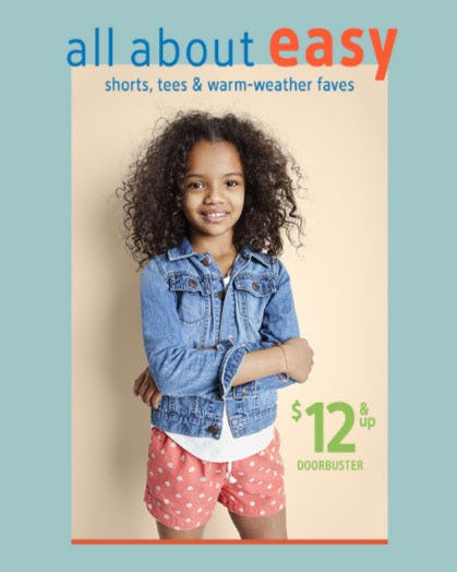 $12 & Up Doorbuster Shorts, Tees & Warm-Weather Faves from Oshkosh B'gosh