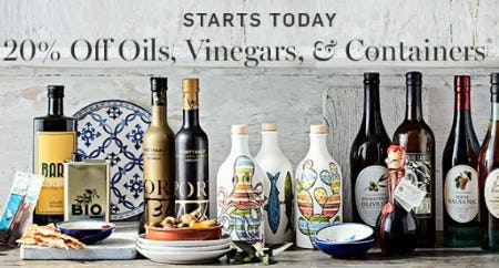 20% Off Oils, Vinegars, & Containers from Williams-Sonoma