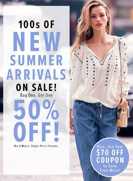 100s of New Summer Arrivals on Sale Buy One, Get One 50% Off from New York & Company