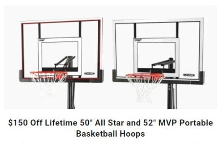 "$150 Off Lifetime 50"" All Star and 52"" MVP Portable Basketball Hoops from Dick's Sporting Goods"