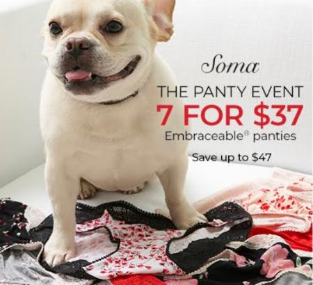 7 for $37 Embraceable Panties from Soma Intimates
