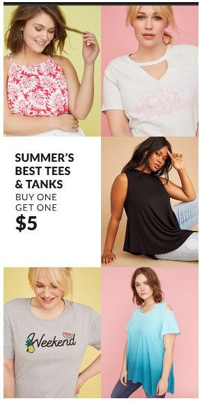 Summer's Best Tees & Tanks Buy One, Get One $5 from Lane Bryant