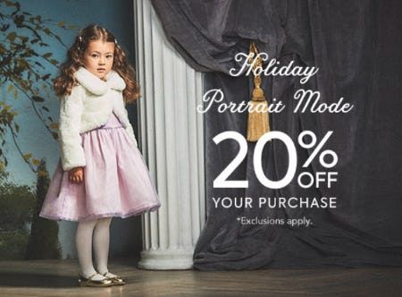 Holiday Portrait Mode: 20% Off Your Purchase from Janie and Jack