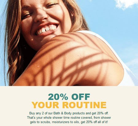 20% Off Bath & Body When You Buy 2 or More from The Body Shop