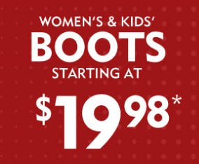 Women's & Kids' Boots, Starting at $19.98 from Shoe Carnival