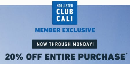 20% Off Entire Purchase from Hollister Co.