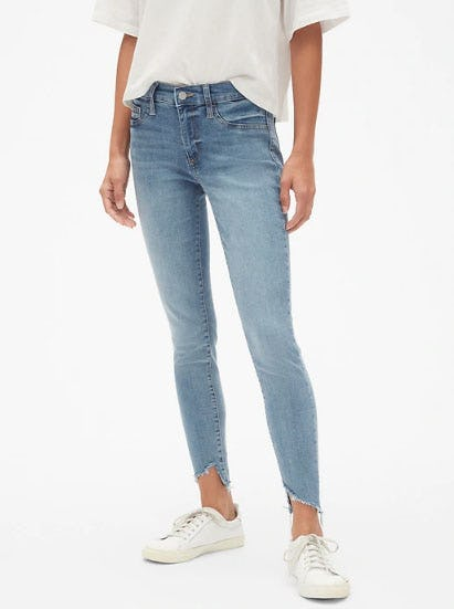 Mid Rise Favorite Ankle Jeggings in Distressed from Gap
