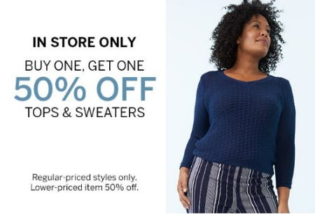 Buy One, Get One 50% Off Tops & Sweaters from Dressbarn