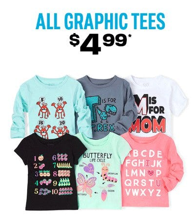 $4.99 All Graphic Tees from The Children's Place