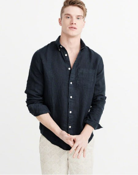 Garment Dyed Linen Shirt from Abercrombie & Fitch