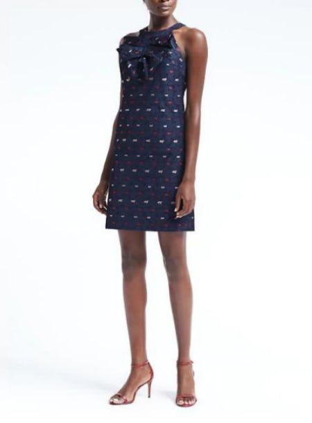 Stripe Pleated-Bow Shift Dress
