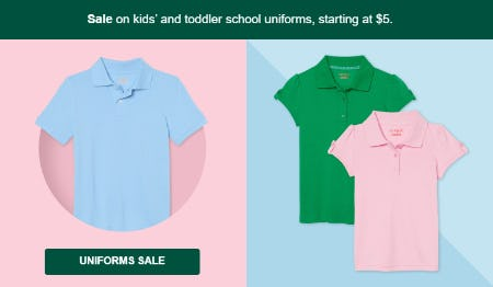 Kids' and Toddler School Uniforms Starting at $6