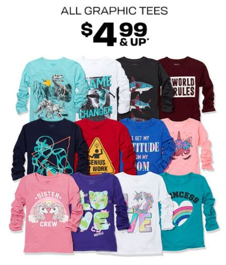 All Graphic Tees $4.99 & Up from The Children's Place Gymboree