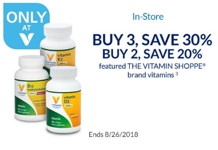 Buy 3, Save 30% The Vitamin Shoppe Brand Vitamins from The Vitamin Shoppe