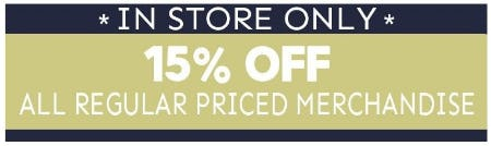 15% Off All Regular Priced Merchandise from Bon Worth