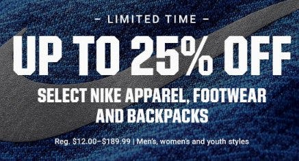Up to 25% Off Select Nike Apparel, Footwear and Backpacks from Dick's Sporting Goods