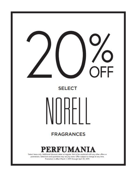 20% Off Norell NY & Norell Elixir from Perfumania