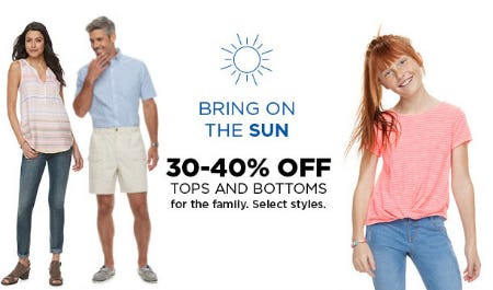 30-40% Off Tops & Bottoms from Kohl's