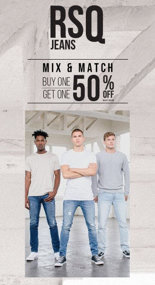 BOGO 50% Off RSQ Jeans from Tillys