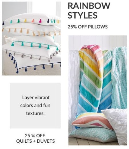 25% Off Pillows & Quilts & Duvets from Pb Teen