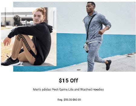 $15 Off Men's Adidas Post-Game Life and Washed Hoodies
